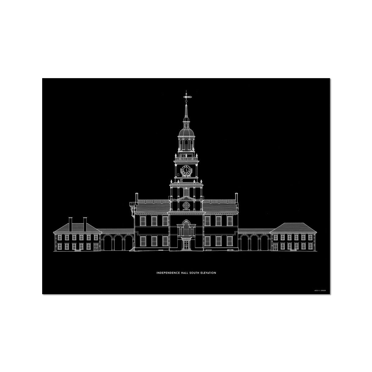 Independence Hall - South Elevation - Black -  Etching Paper Print