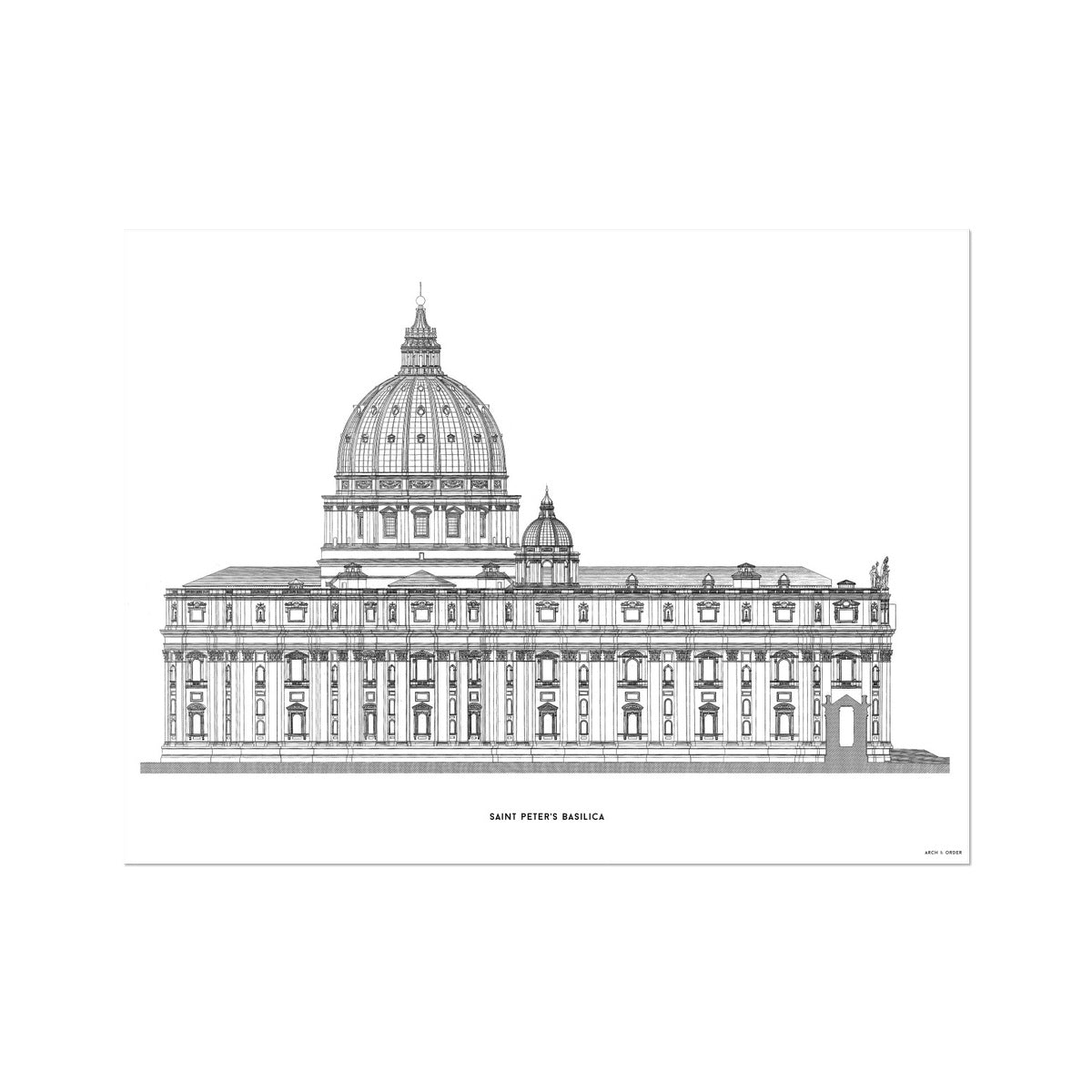 Saint Peter's Basilica - Side Elevation - White -  Etching Paper Print