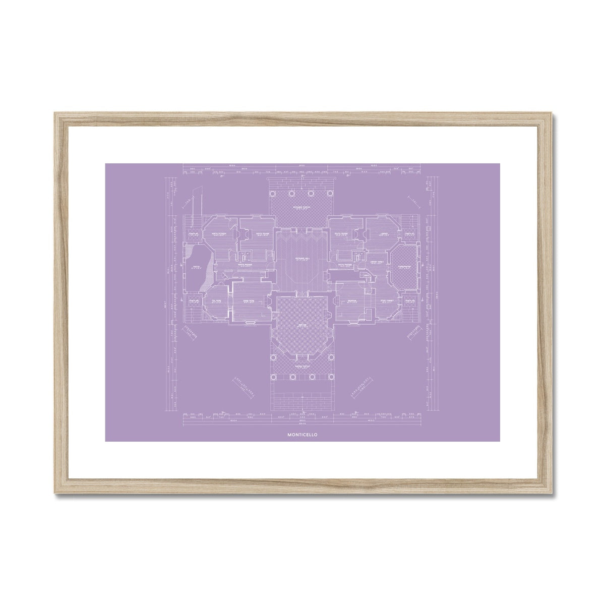 Monticello - First Floor Plan - Lavender -  Framed & Mounted Print