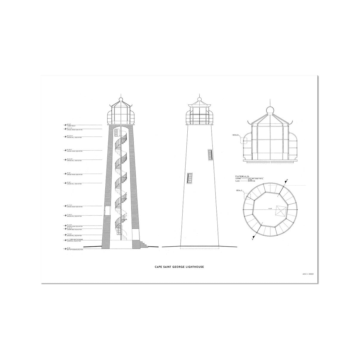 Cape Saint George Lighthouse - Southeast Elevation and Cross Section - White - German Etching Print