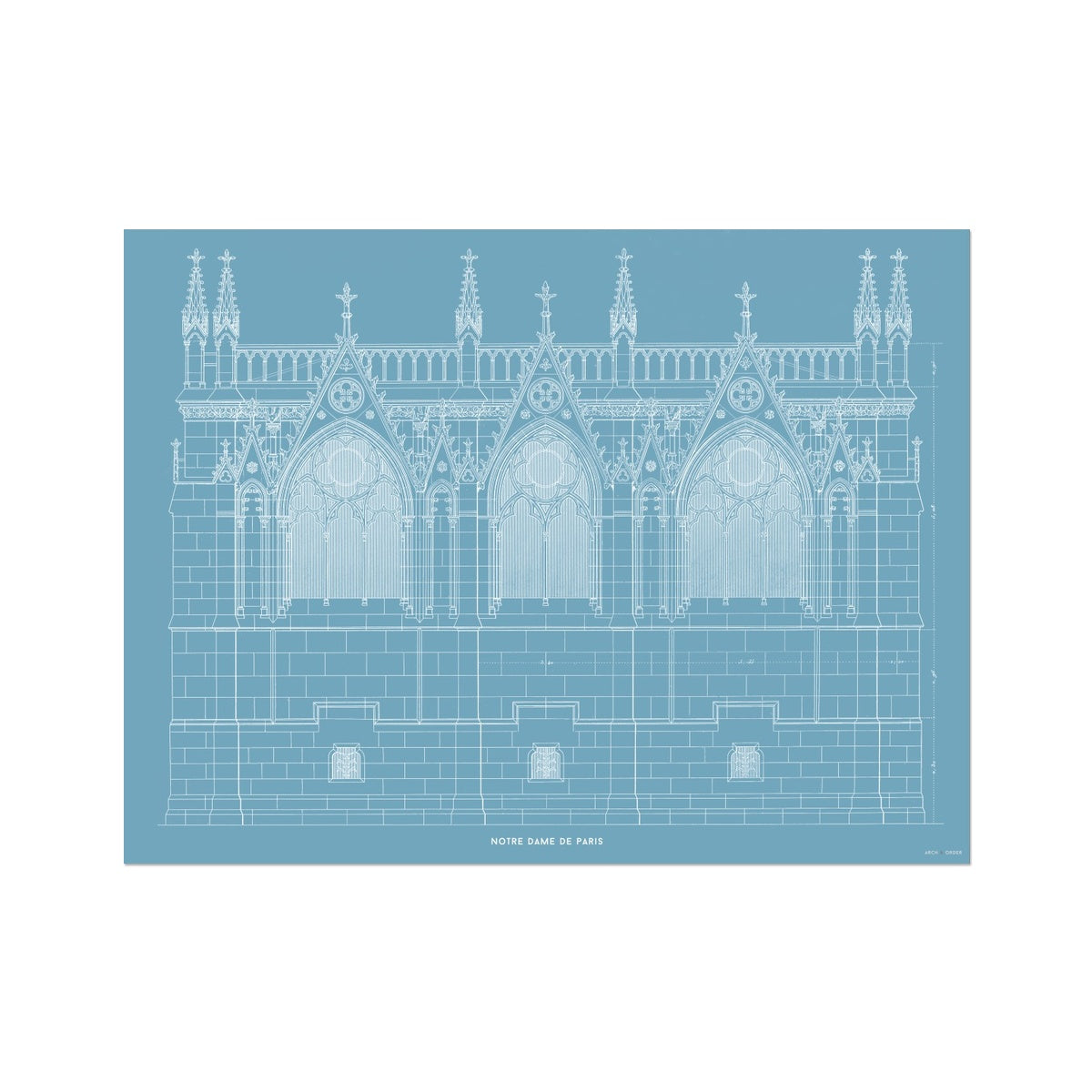 Notre Dame de Paris - Side Elevation - Blue -  Etching Paper Print
