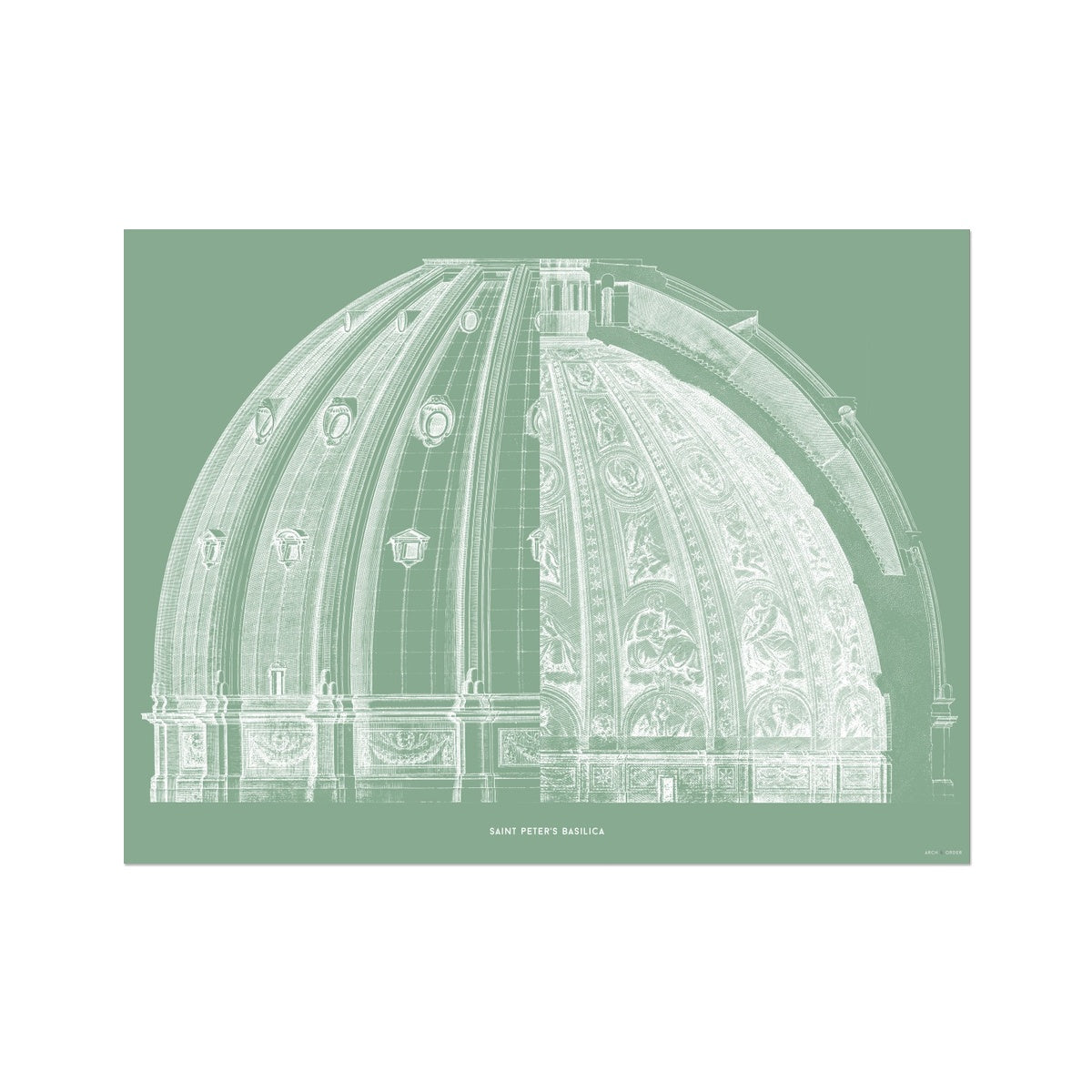 Saint Peter's Basilica - Dome Cross Section - Green -  Etching Paper Print