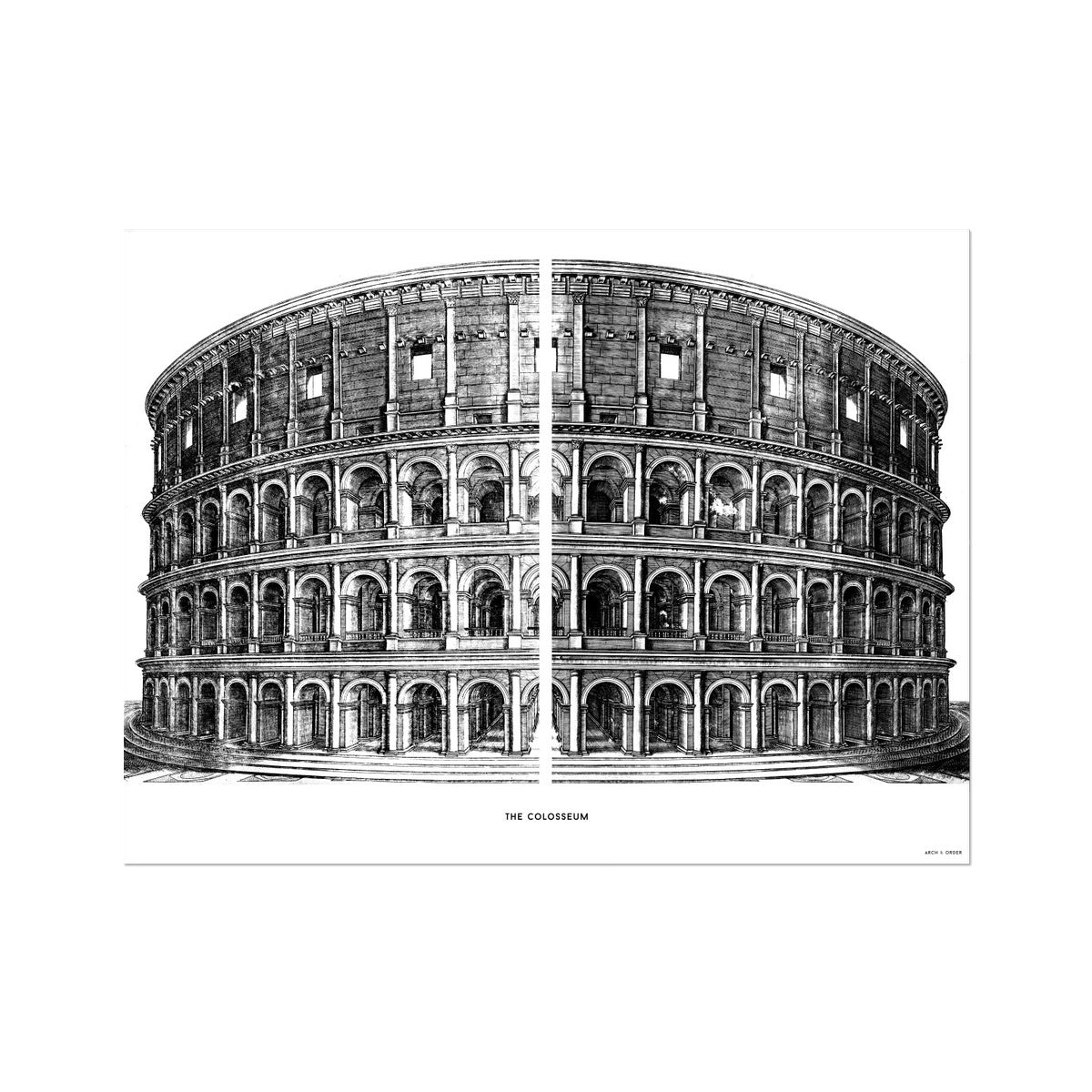 The Colosseum - Primary Elevation - White -  Etching Paper Print