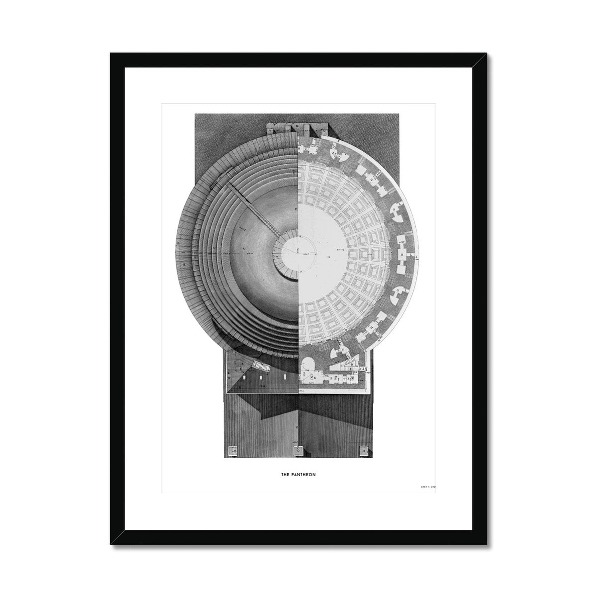 The Pantheon - Top Elevation -  Framed & Mounted Print