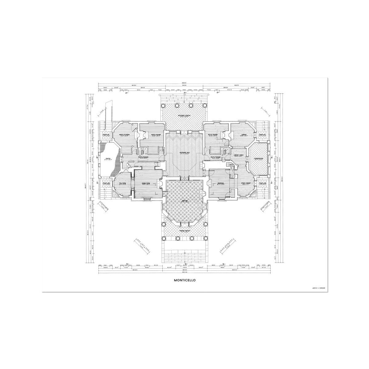 Monticello - First Floor Plan - White -  Etching Paper Print