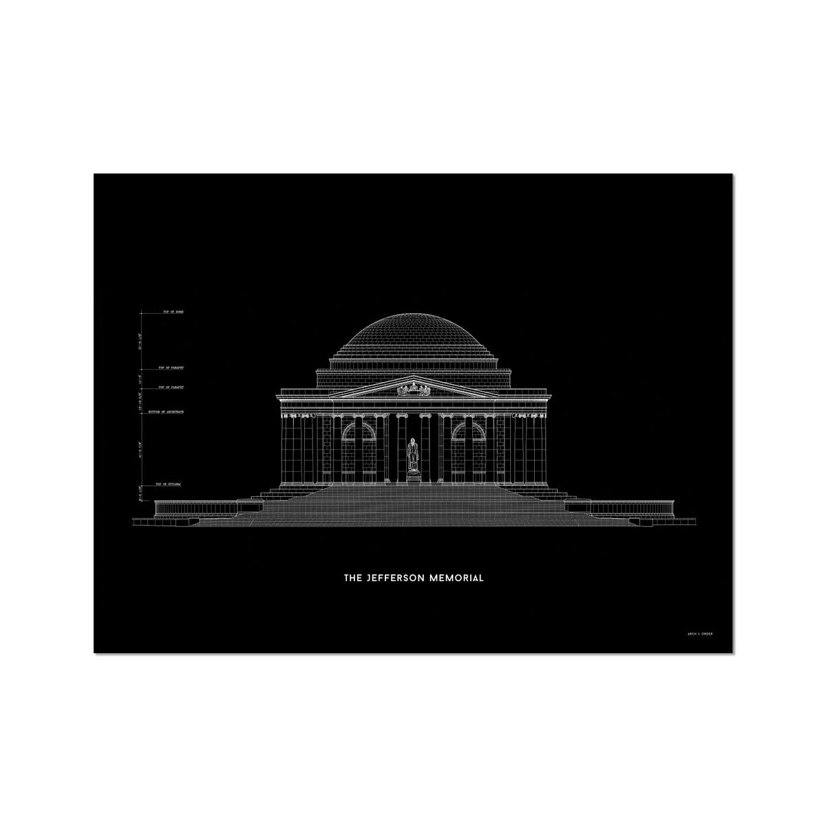 The Jefferson Memorial North Elevation - Black -  Etching Paper Print