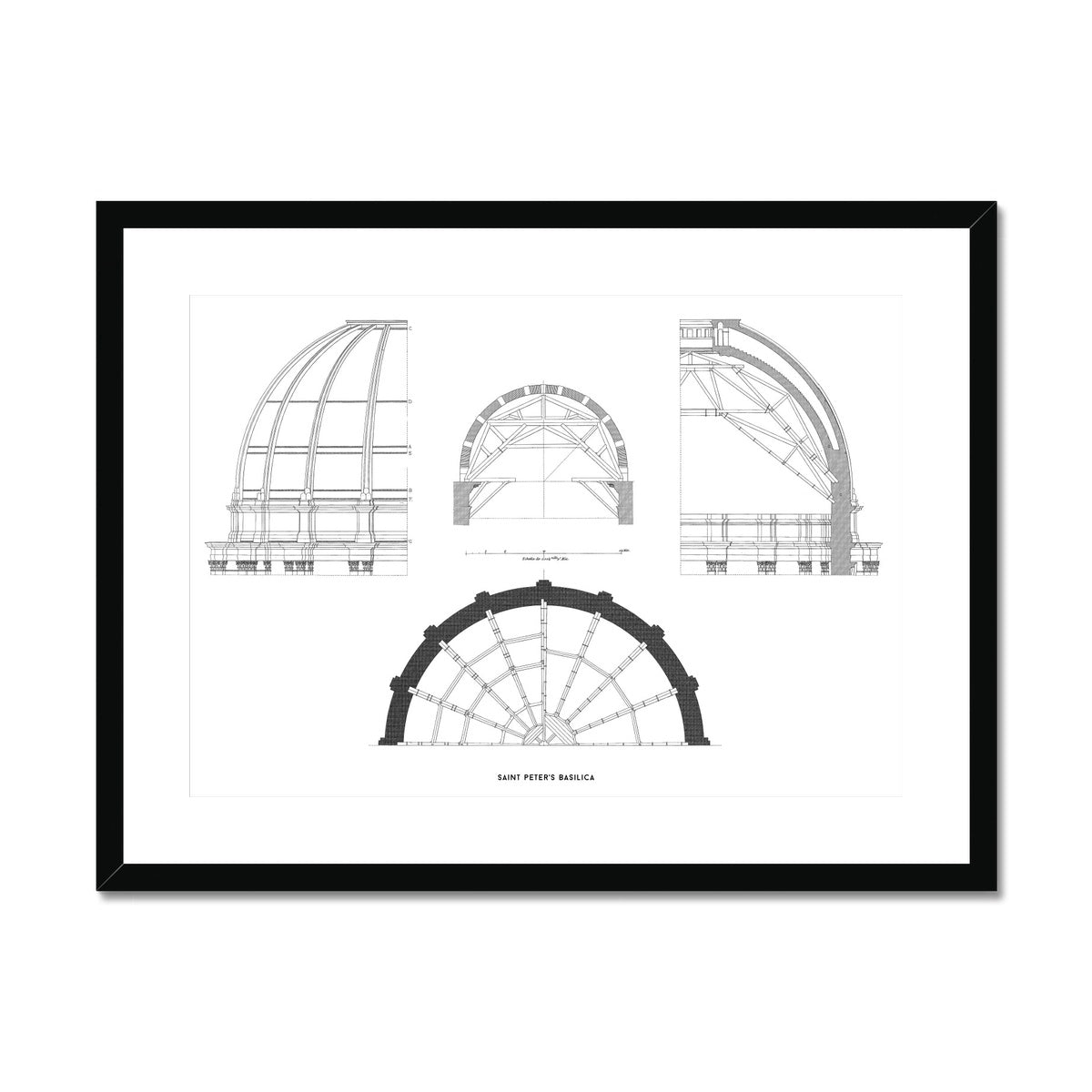 Saint Peter's Basilica - Dome Structure - White -  Framed & Mounted Print