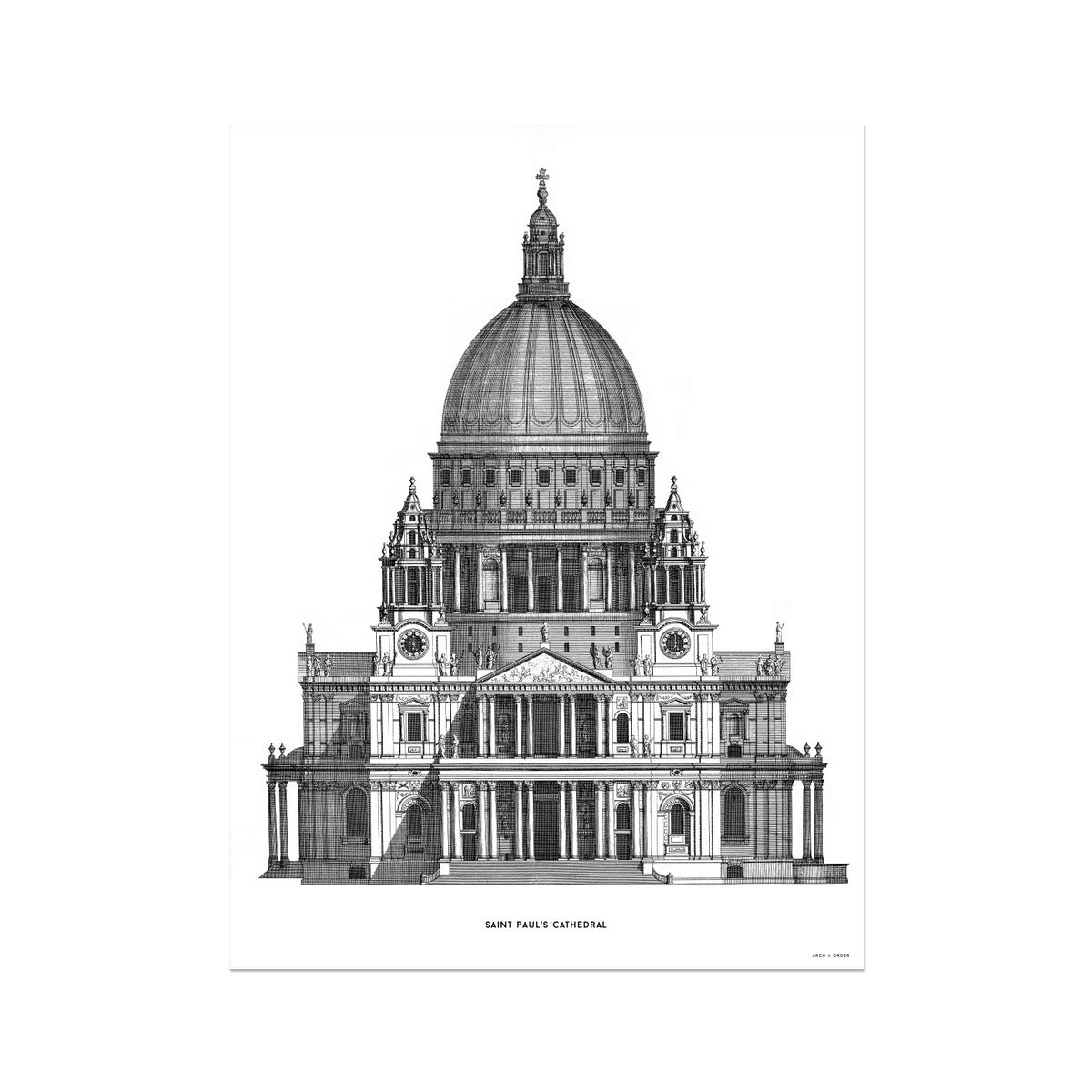 Saint Paul's Cathedral - Primary Elevation - White -  Etching Paper Print