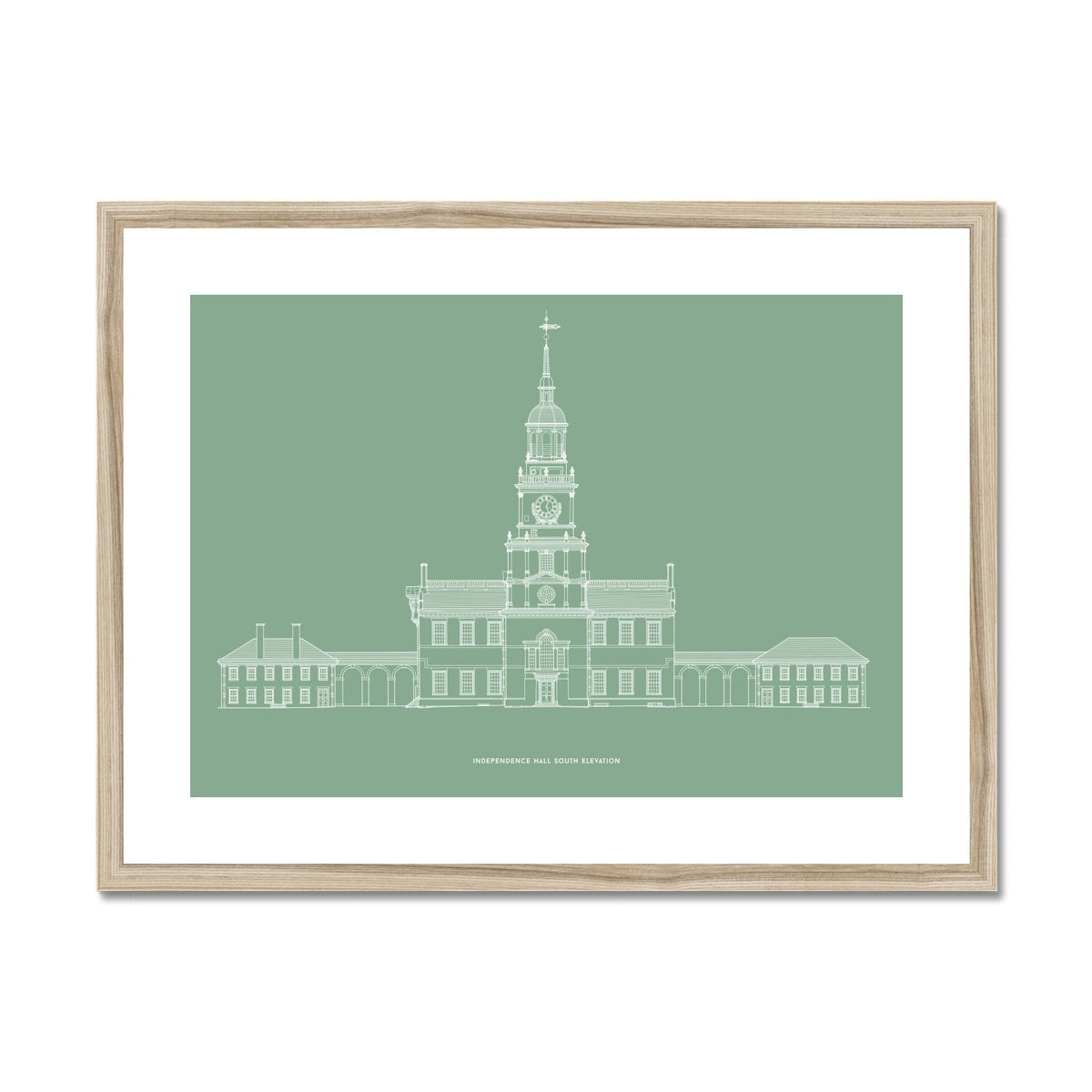 Independence Hall - South Elevation - Green -  Framed & Mounted Print