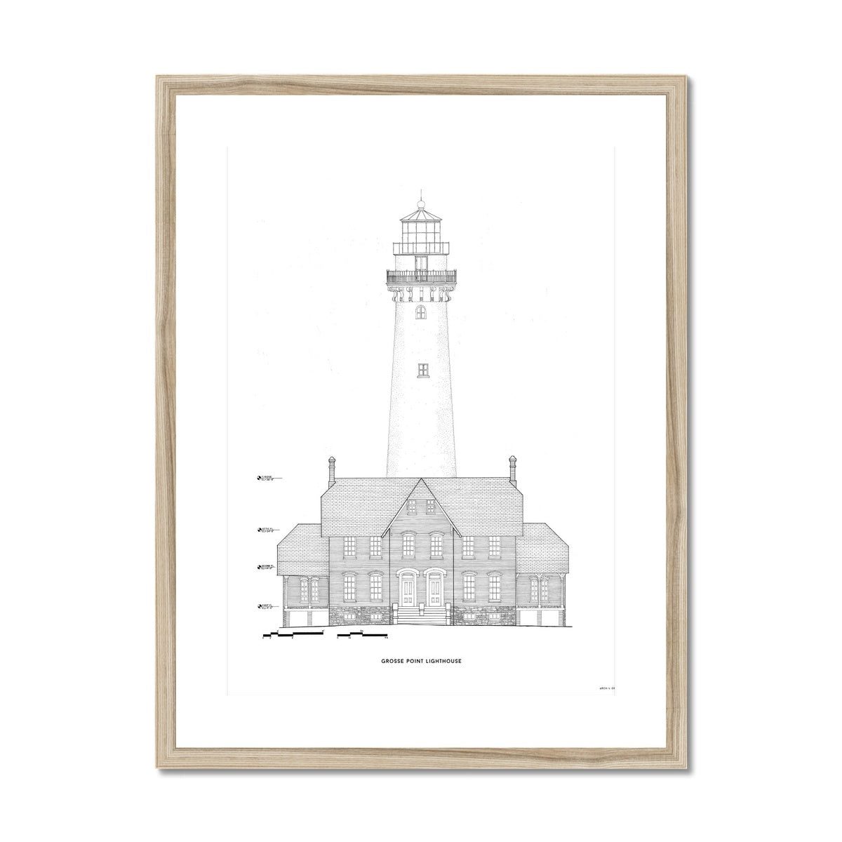 Grosse Point Lighthouse - West Elevation - White -  Framed & Mounted Print