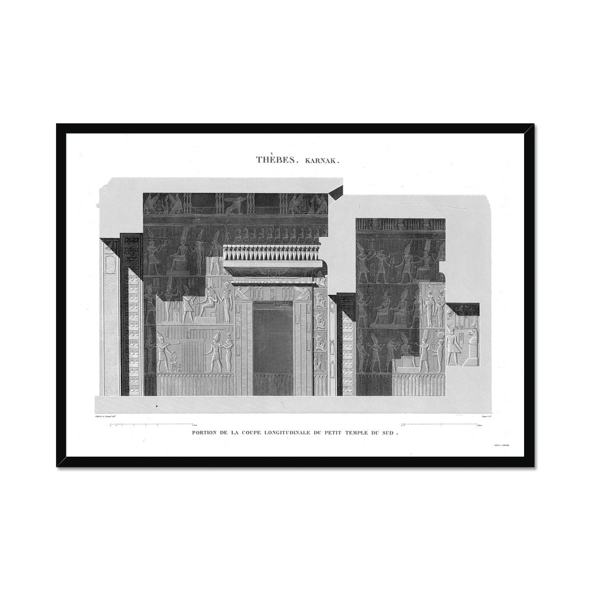 Sections of the Small Southern Temple 2 - Karnak - Thebes Egypt -  Framed Print