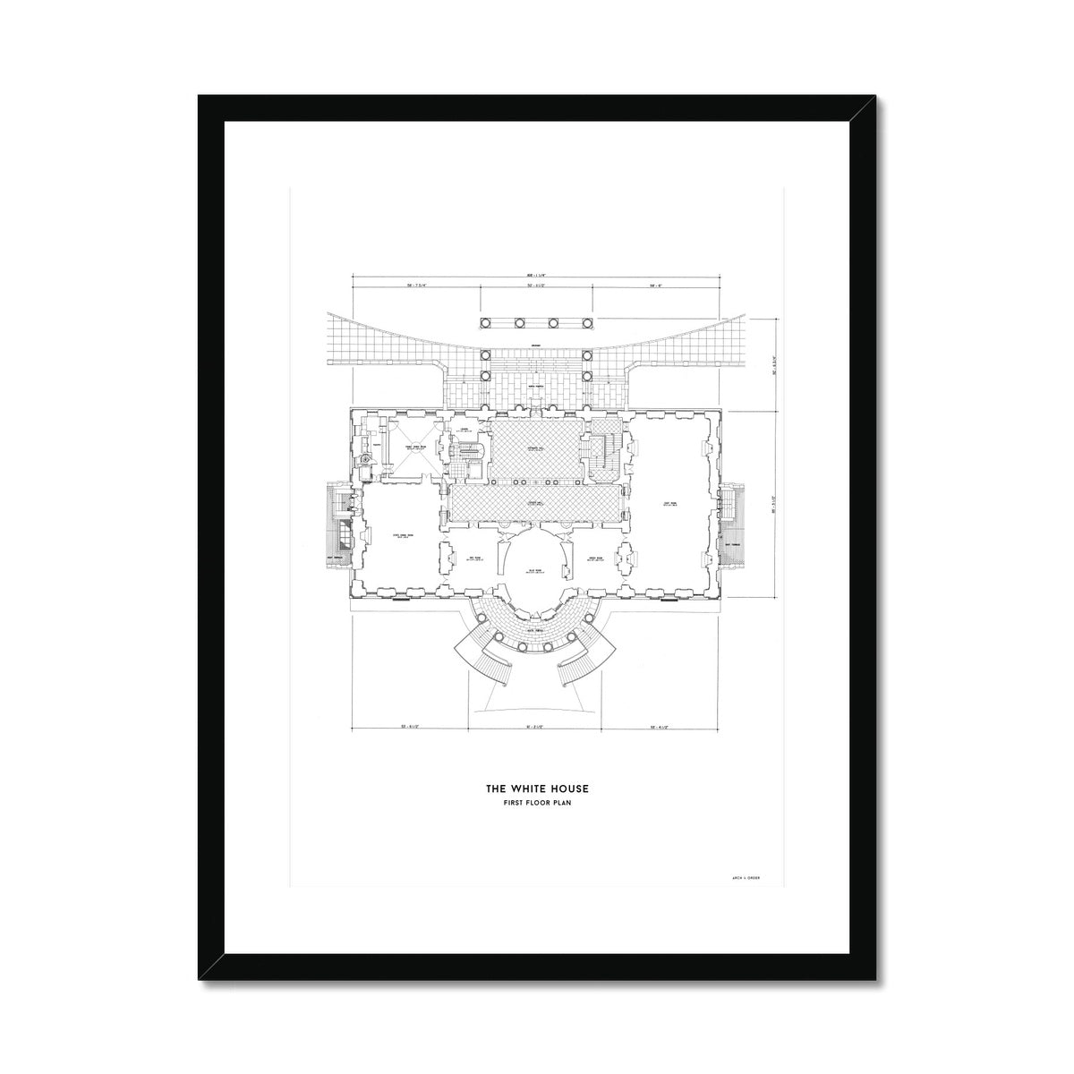The White House First Floor Plan - White -  Framed & Mounted Print