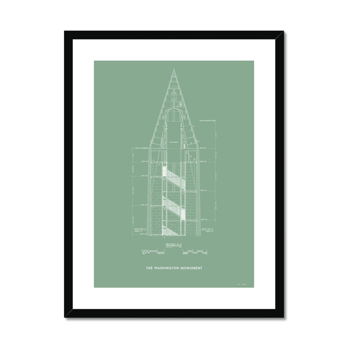 The Washington Monument Top Cross Section - Green -  Framed & Mounted Print