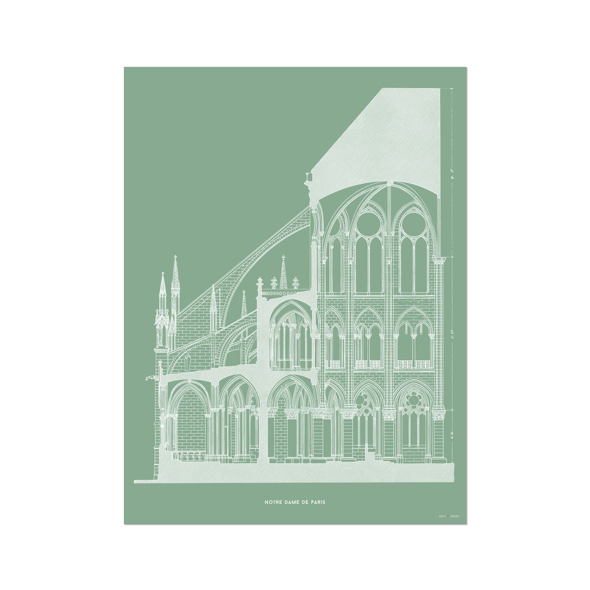 Notre Dame de Paris - Cross Section - Green -  Etching Paper Print