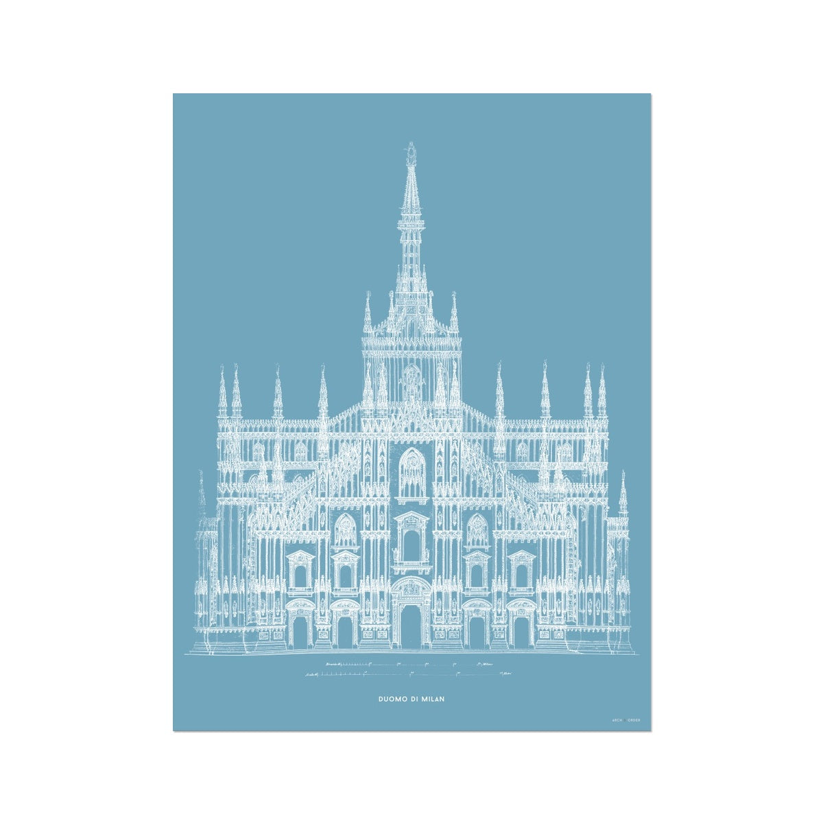 The Milan Cathedral - Alternative Primary Elevation - Blue -  Etching Paper Print