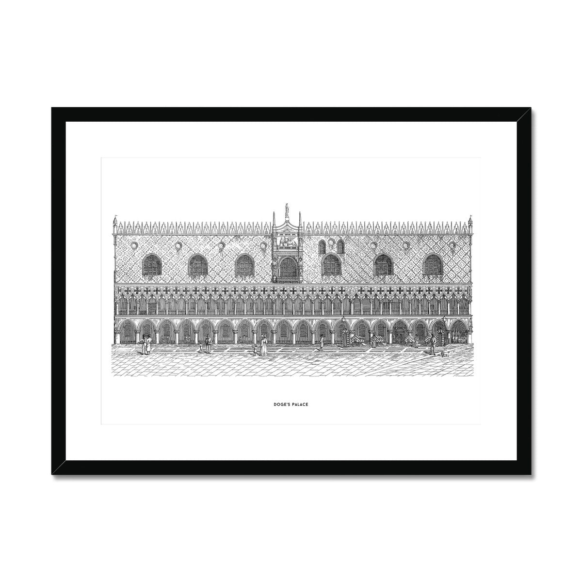 Doge's Palace - Primary Elevation - White -  Framed & Mounted Print