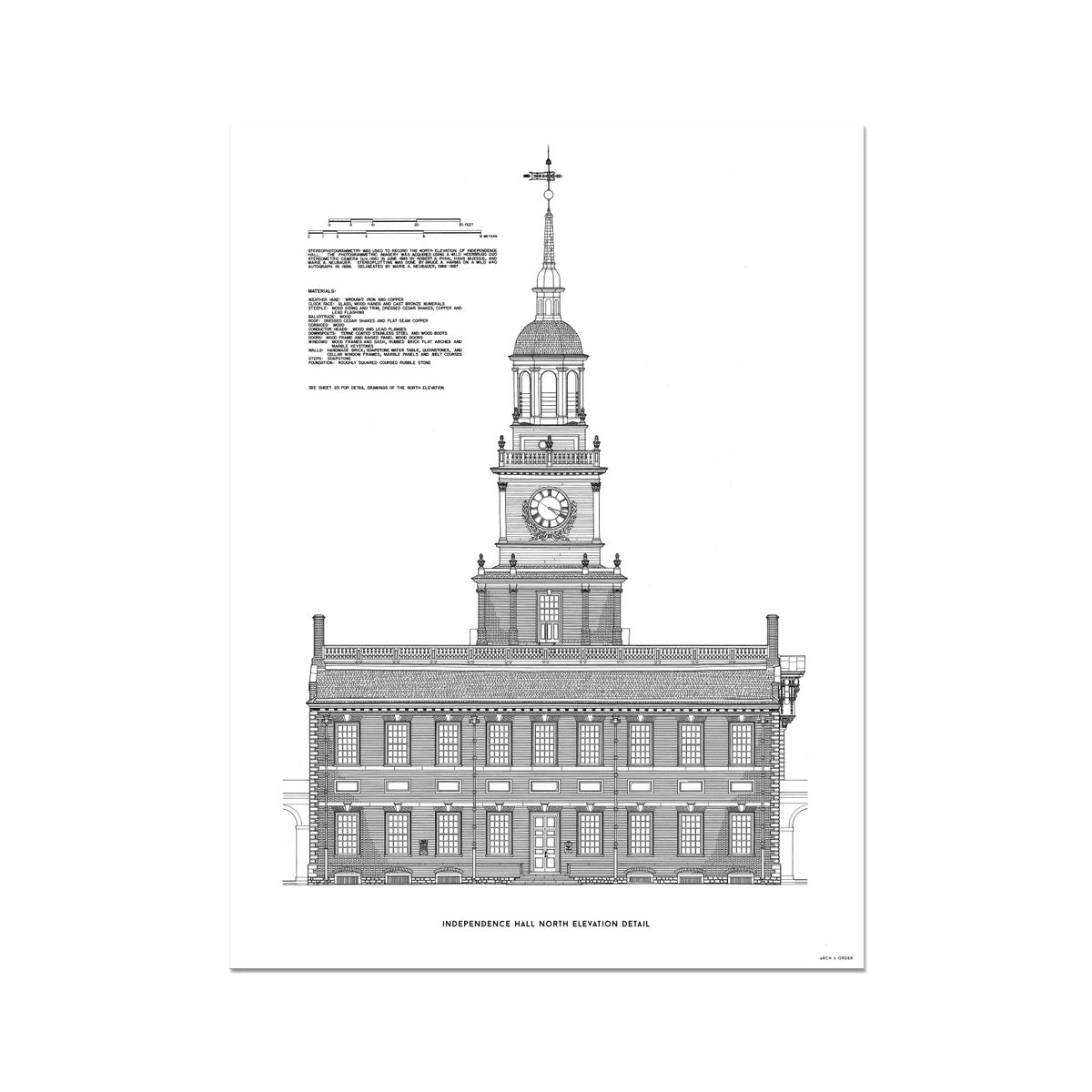 Independence Hall - North Elevation Detail - White -  Etching Paper Print