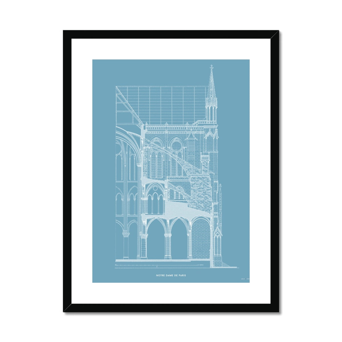 Notre Dame de Paris - Buttress Cross Section - Blue -  Framed & Mounted Print