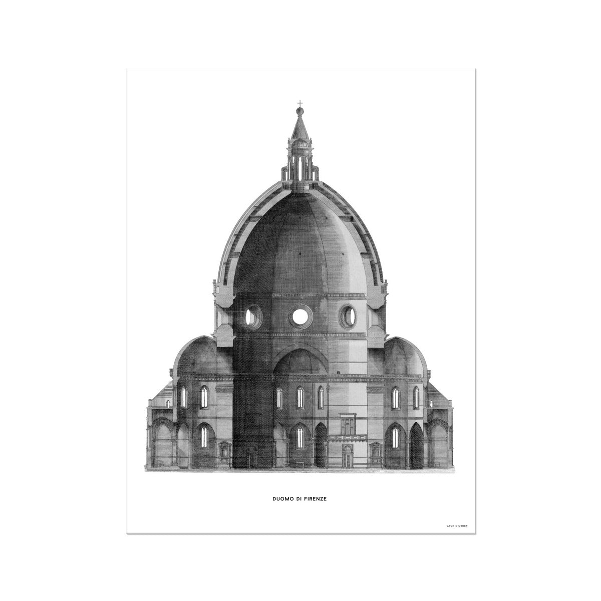 Duomo di Firenze - Primary Elevation Cross Section - White -  Etching Paper Print