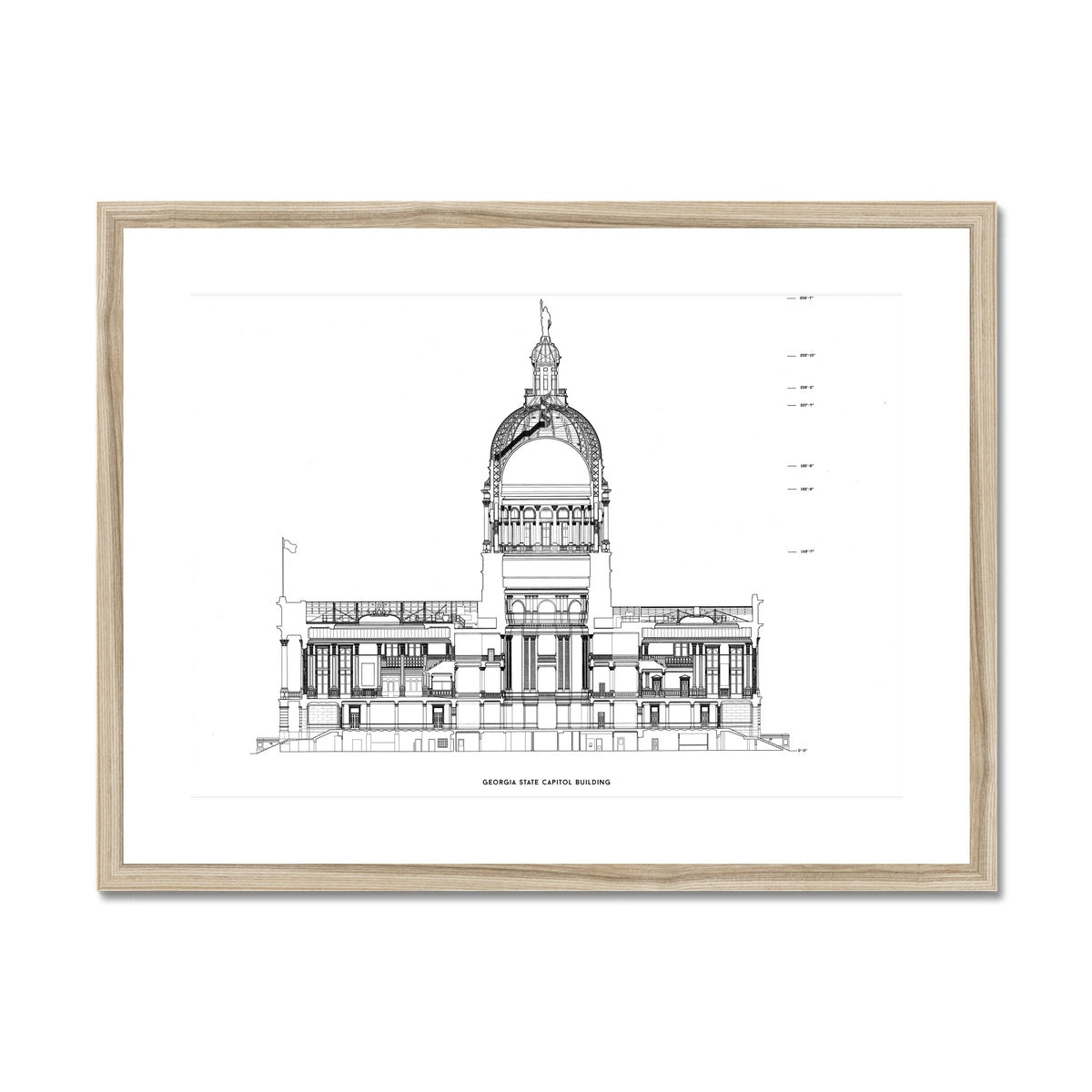 The Georgia State Capitol Building - North Elevation Cross Section - White -  Framed & Mounted Print