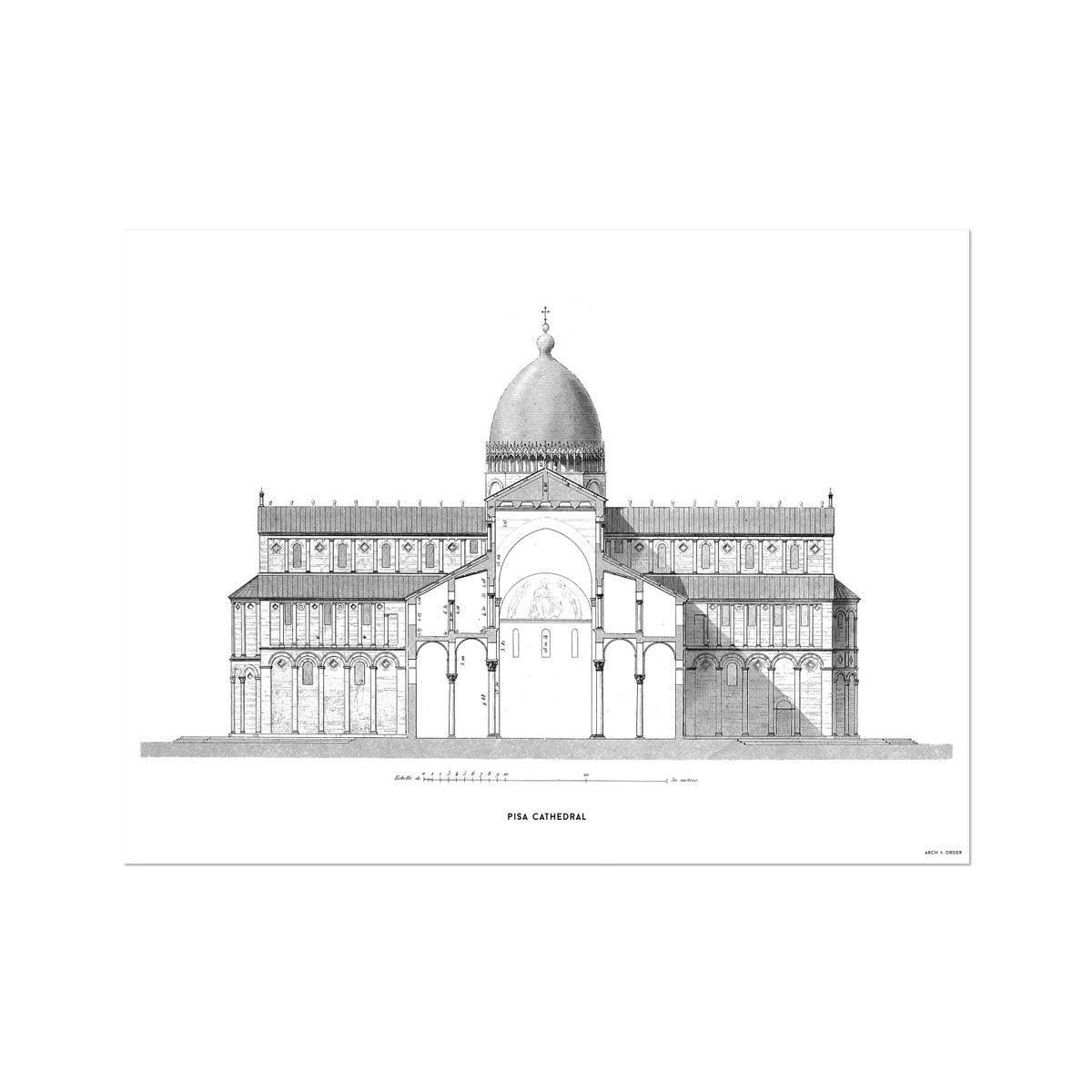 Pisa Cathedral - Cross Section - White -  Etching Paper Print