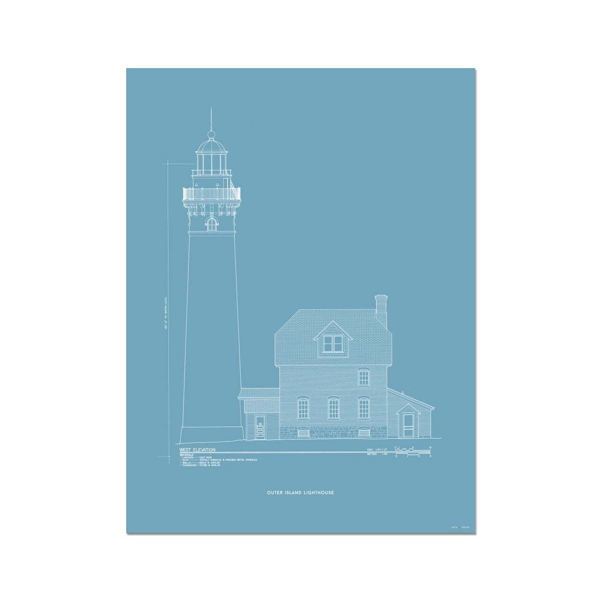 Outer Island Lighthouse - West Elevation - Blue -  Etching Paper Print