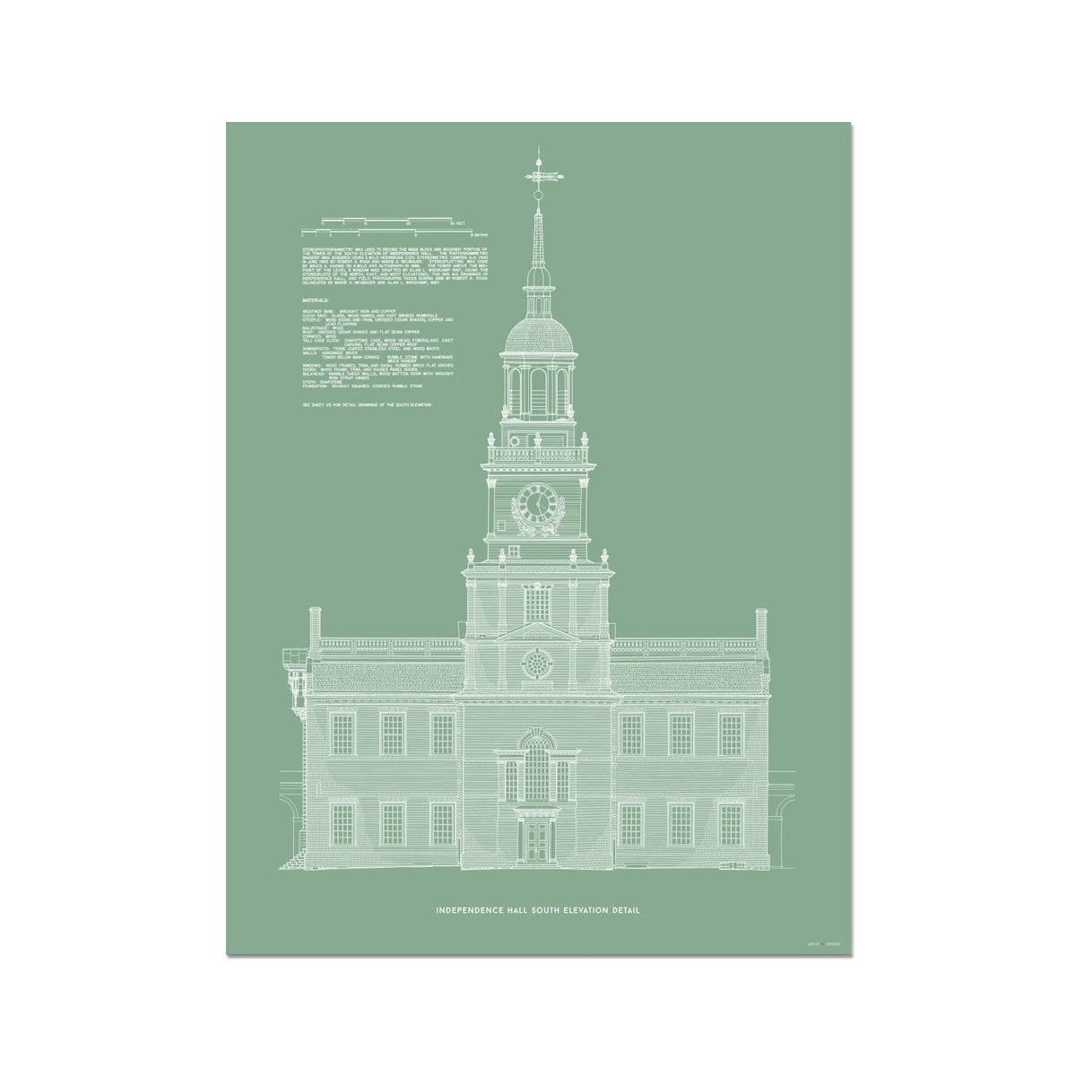 Independence Hall - South Elevation Detail - Green -  Etching Paper Print