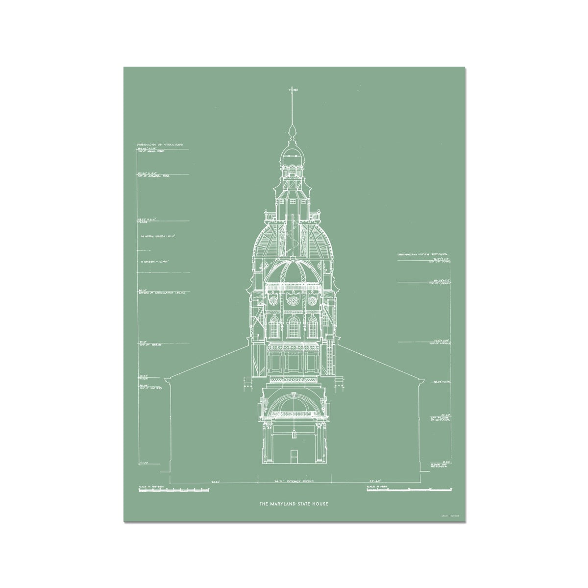 The Maryland State House - Northwest Elevation Cross Section - Green - German Etching Print