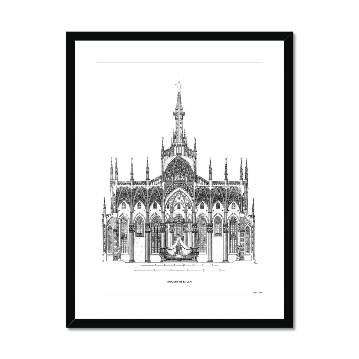 The Milan Cathedral - Primary Elevation Cross Section - White -  Framed & Mounted Print