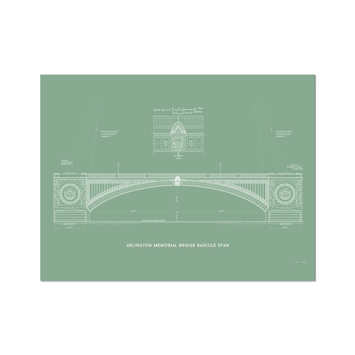 The Arlington Memorial Bridge - Bascule Span - Green -  Etching Paper Print