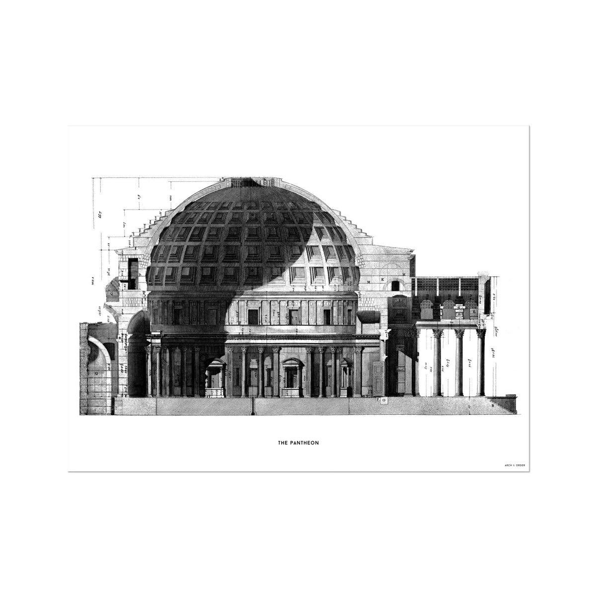 The Pantheon - Cross Section -  Etching Paper Print