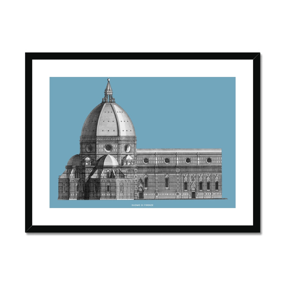 Duomo di Firenze - Transverse Elevation - Blue -  Framed & Mounted Print