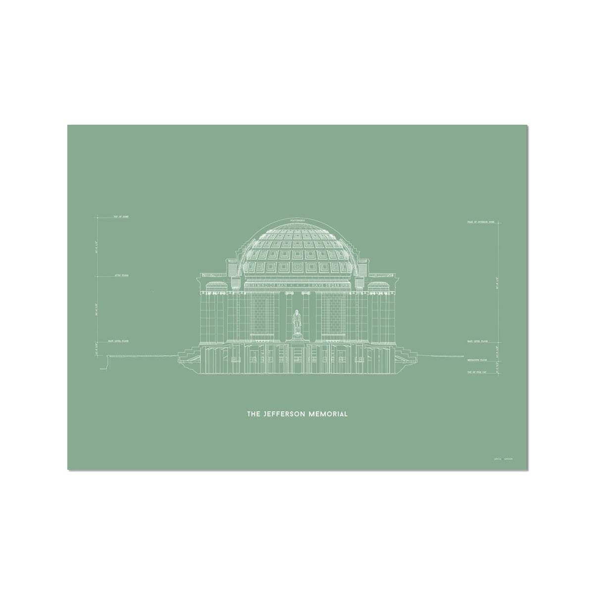 The Jefferson Memorial North Elevation Cross Section - Green -  Etching Paper Print