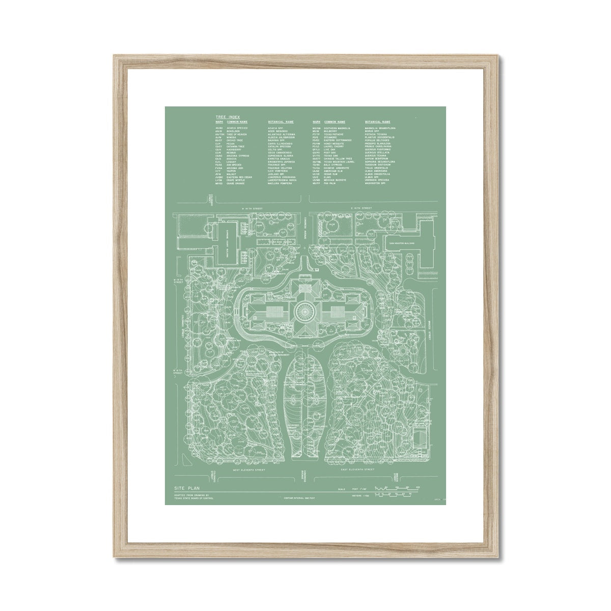 The Texas State Capitol Building - Site and Landscaping Plan - Green -  Framed & Mounted Print