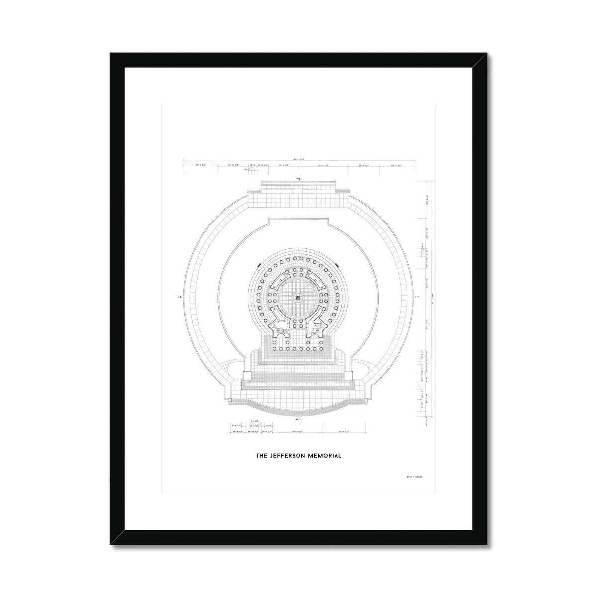 Jefferson Memorial Main Level Plan - White -  Framed & Mounted Print
