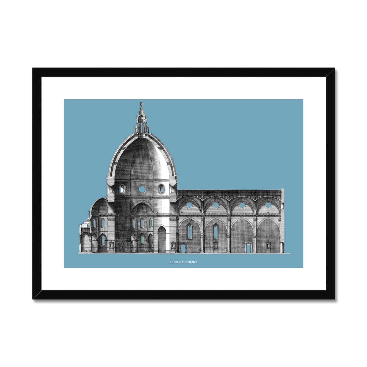 Duomo di Firenze - Transverse Cross Section - Blue -  Framed & Mounted Print