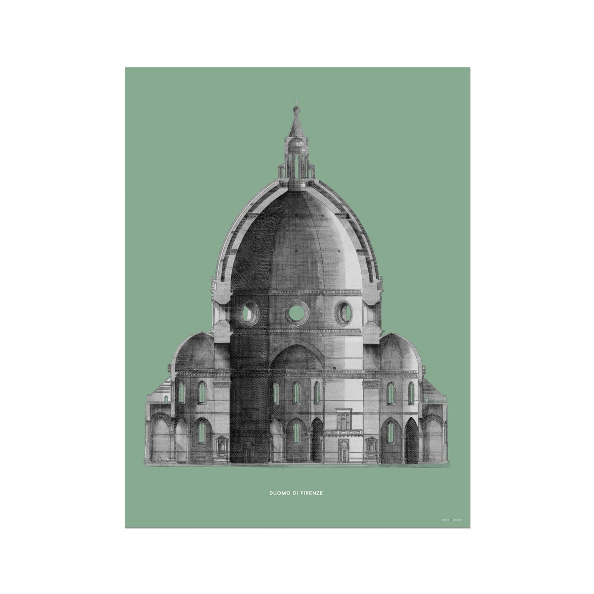 Duomo di Firenze - Primary Elevation Cross Section - Green -  Etching Paper Print