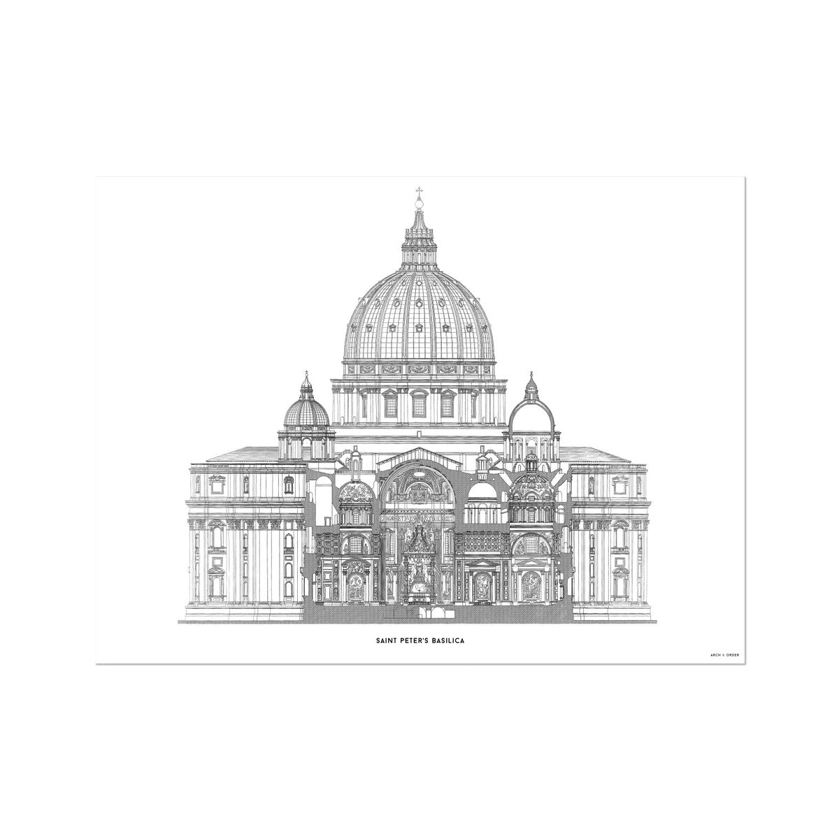 Saint Peter's Basilica - Primary Elevation Cross Section - White -  Etching Paper Print