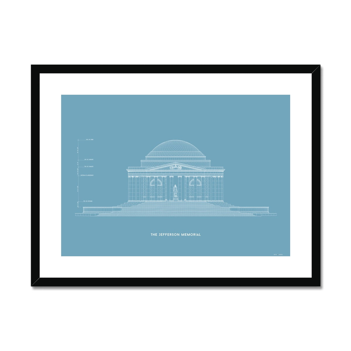 The Jefferson Memorial North Elevation - Blue -  Framed & Mounted Print