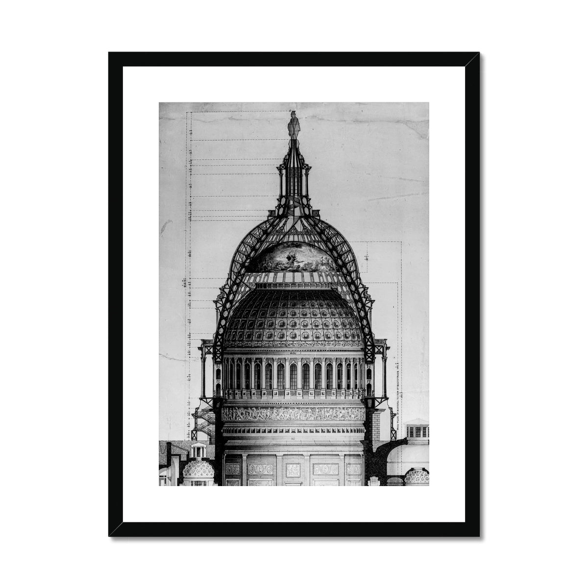 The U.S. Capitol Building - Dome Cross Section - White -  Framed & Mounted Print
