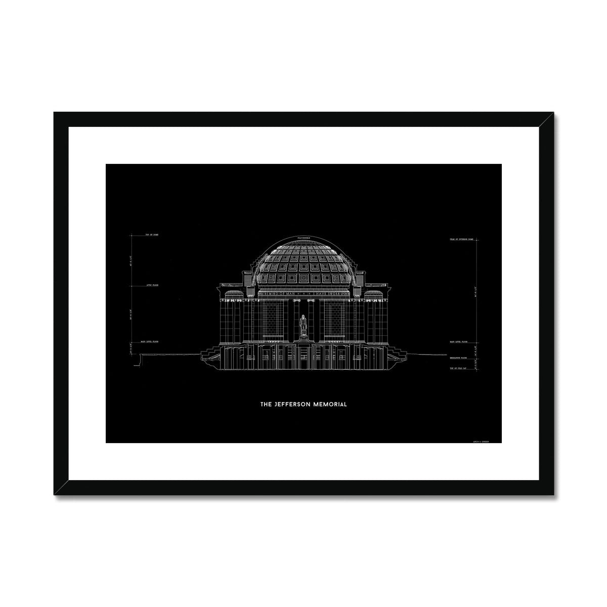 The Jefferson Memorial North Elevation Cross Section - Black -  Framed & Mounted Print