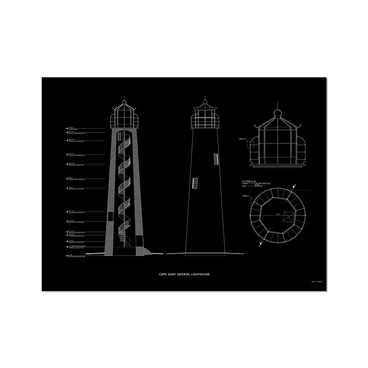 Cape Saint George Lighthouse - Southeast Elevation and Cross Section - Black - German Etching Print