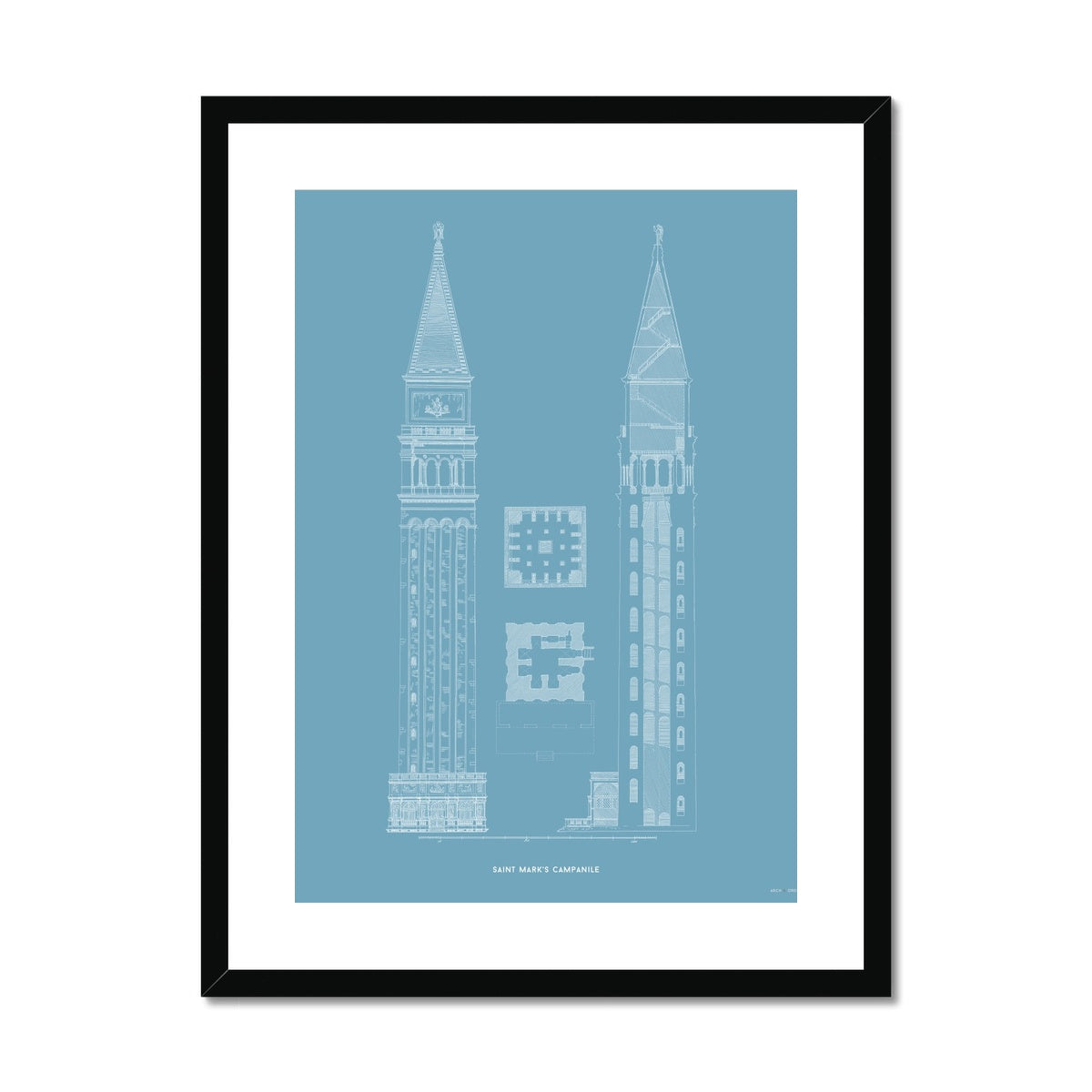 Saint Mark's Campanile - Primary Elevation - Blue -  Framed & Mounted Print
