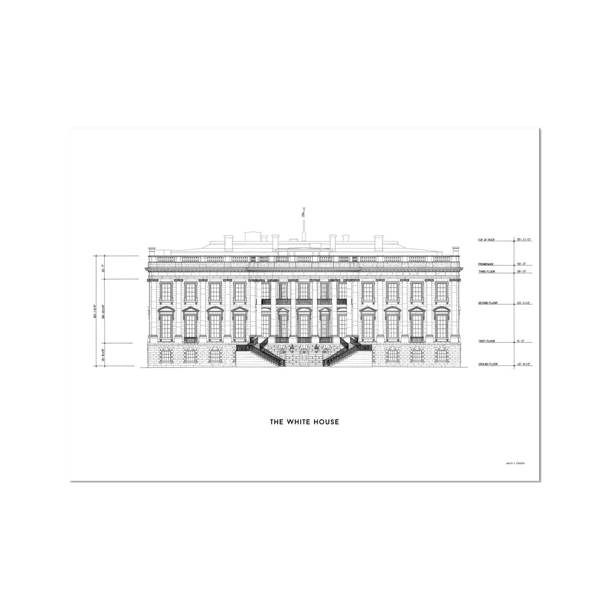 The White House South Elevation - White -  Etching Paper Print