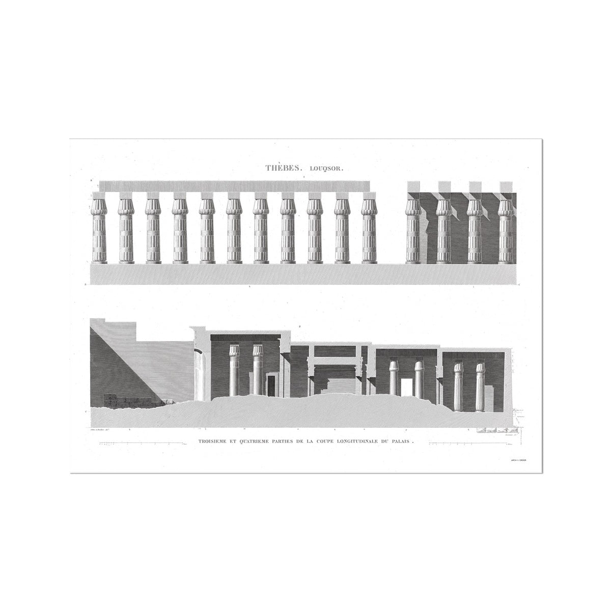 Cross Section of the Palace 3 - Luxor - Thebes Egypt -  Etching Paper Print
