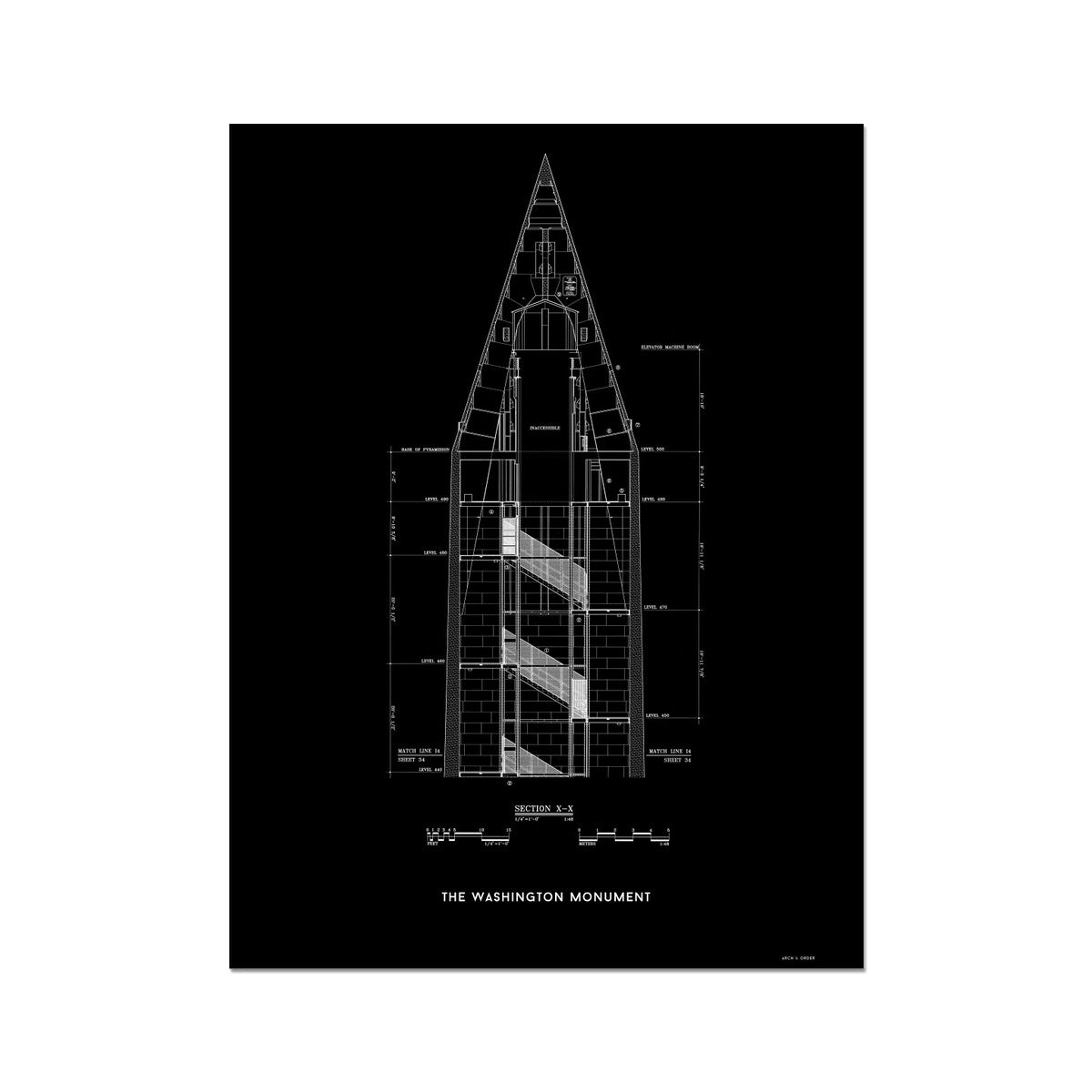 The Washington Monument Top Cross Section - Black -  Etching Paper Print