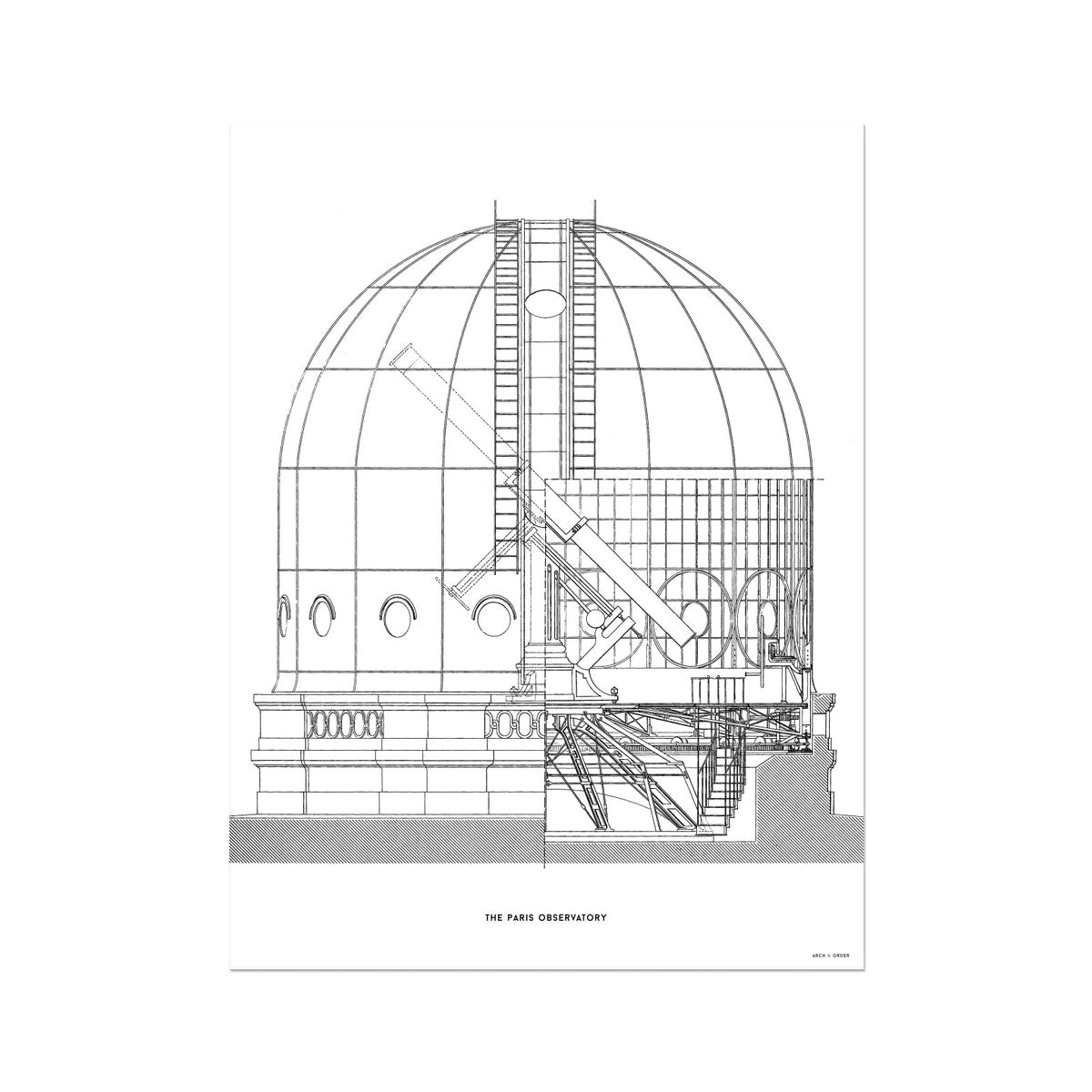 The Paris Observatory - Cross Section - White -  Etching Paper Print