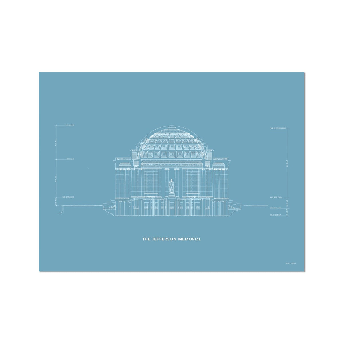 The Jefferson Memorial North Elevation Cross Section - Blue -  Etching Paper Print
