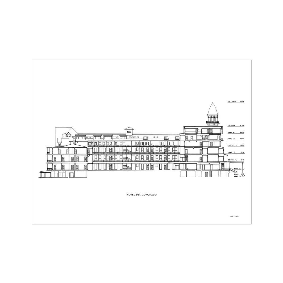 Hotel Del Coronado - Cross Section - White -  Etching Paper Print