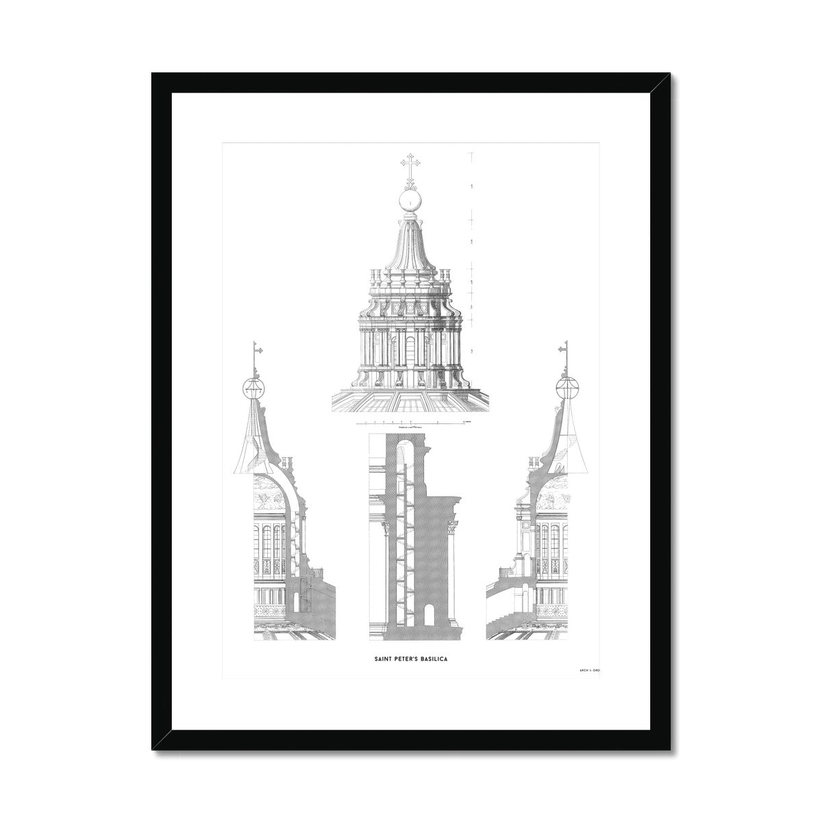Saint Peter's Basilica - Cupola Detail - White -  Framed & Mounted Print
